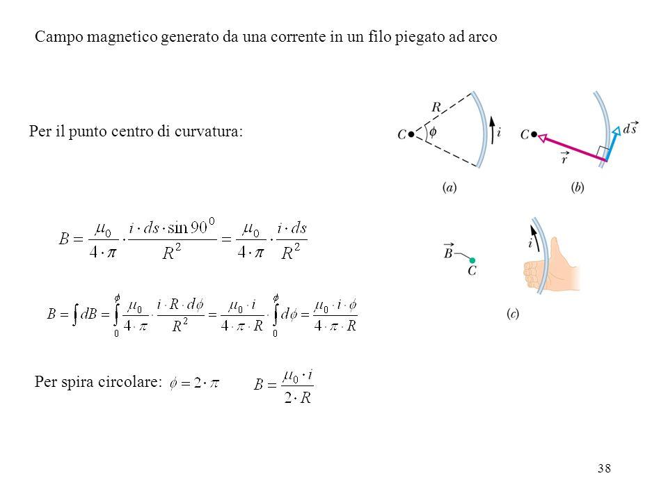38 Campo magnetico generato da una corrente in un filo piegato ad arco Per il punto centro di curvatura: Per spira circolare: