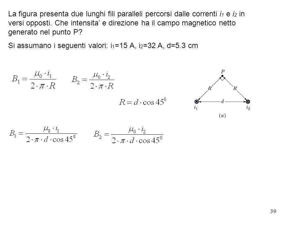 39 La figura presenta due lunghi fili paralleli percorsi dalle correnti i 1 e i 2 in versi opposti. Che intensita e direzione ha il campo magnetico ne