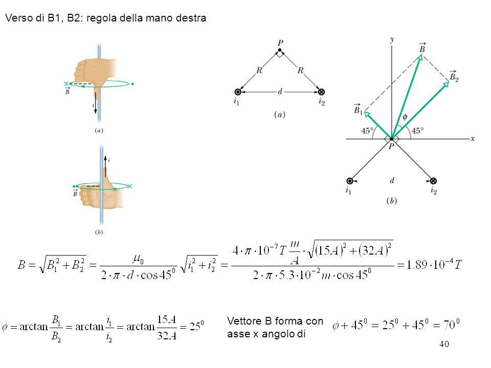 40 Verso di B1, B2: regola della mano destra Vettore B forma con asse x angolo di