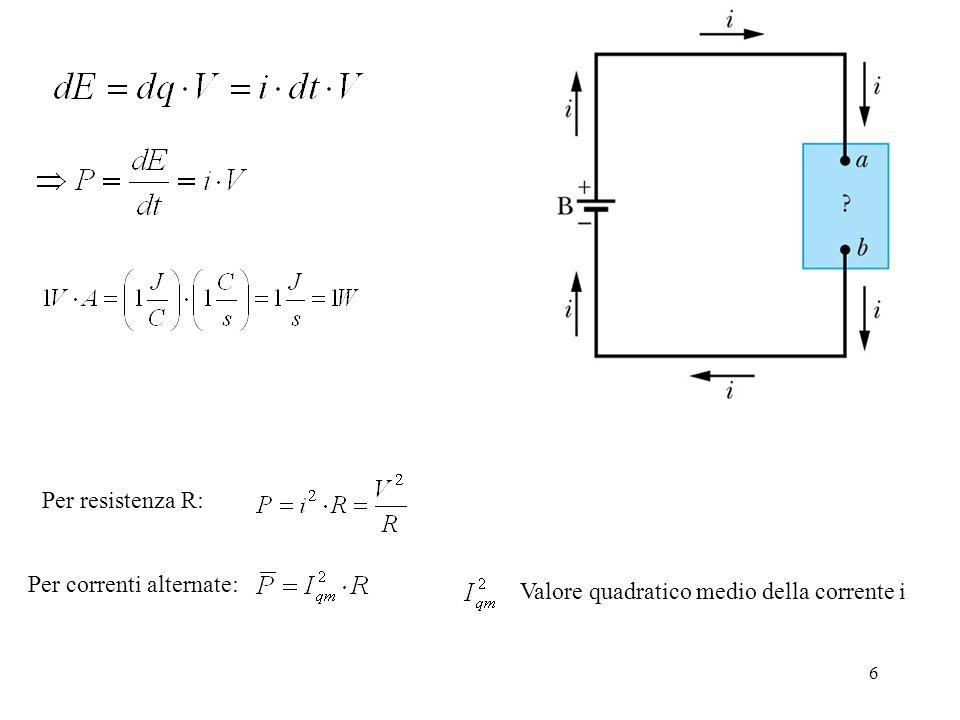 7 a) Quanta corrente è presente in una lampadina da 60 Watt connessa ad una differenza di potenziale di 120 V.