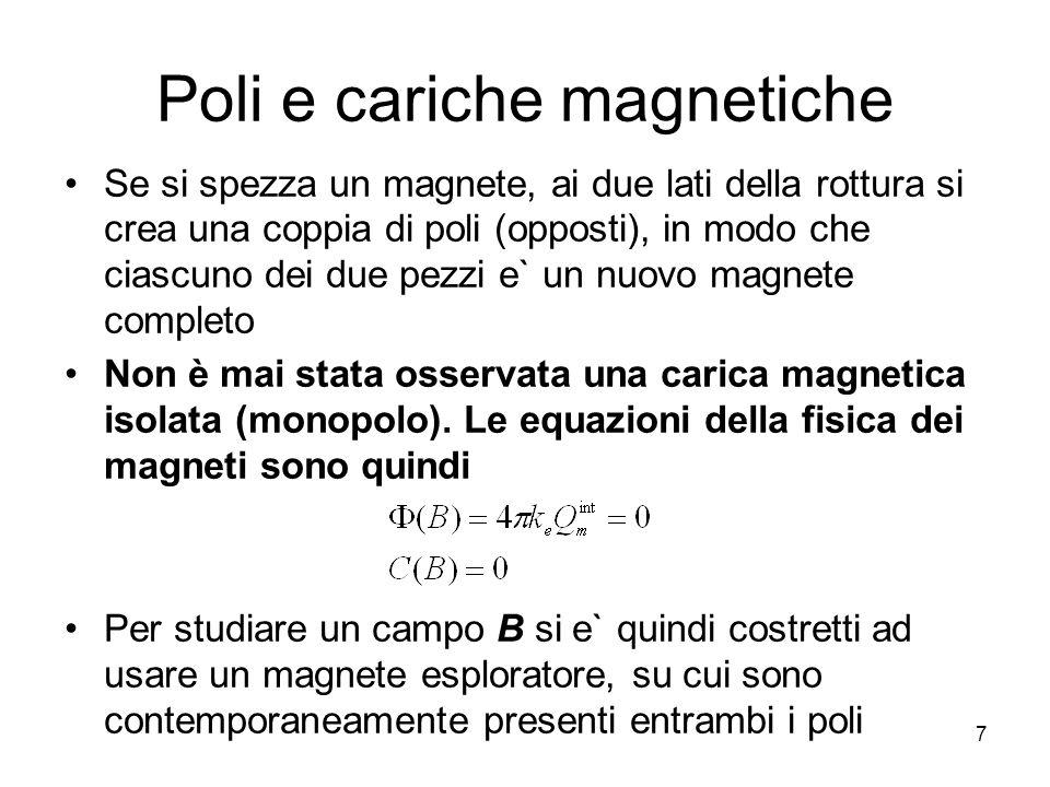 8 Momento agente su un ago in un campo B esterno Un ago magnetico in un campo B esterno è soggetto ad una coppia il cui momento può essere misurato La situazione è analoga a quella di un dipolo elettrico in un campo E Possiamo definire un nuovo ente vettoriale: il momento magnetico m dellago –direzione e verso sono individuati dal vettore che va dal polo S al polo N dellago –il modulo m è tale che quando lago è posto in un campo B, la coppia risultante ha momento meccanico Lenergia dellago in un campo esterno è, analogamente al caso elettrico,