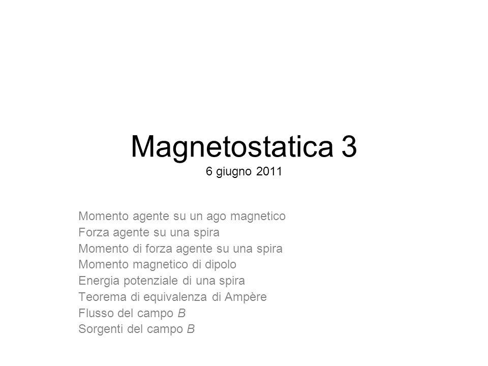 Magnetostatica 3 6 giugno 2011 Momento agente su un ago magnetico Forza agente su una spira Momento di forza agente su una spira Momento magnetico di