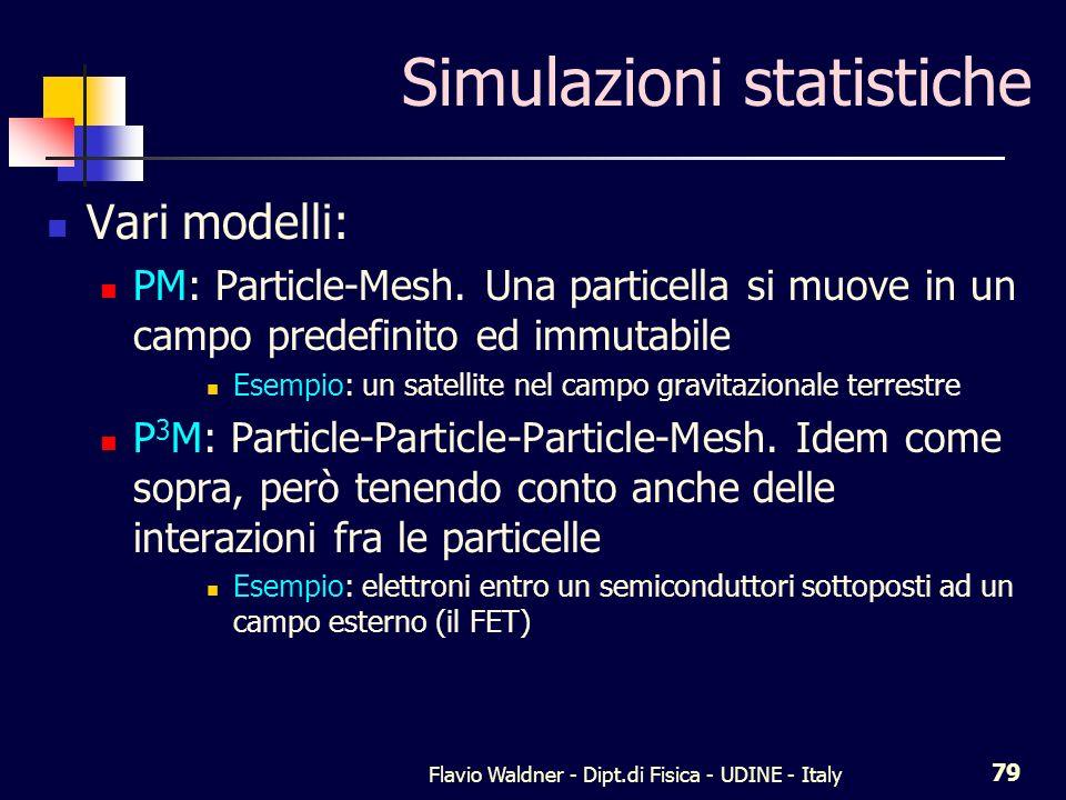 Flavio Waldner - Dipt.di Fisica - UDINE - Italy 79 Simulazioni statistiche Vari modelli: PM: Particle-Mesh.