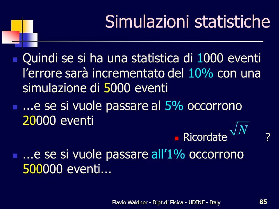 Flavio Waldner - Dipt.di Fisica - UDINE - Italy 85 Simulazioni statistiche Quindi se si ha una statistica di 1000 eventi lerrore sarà incrementato del 10% con una simulazione di 5000 eventi...e se si vuole passare al 5% occorrono 20000 eventi Ricordate ...e se si vuole passare all1% occorrono 500000 eventi...
