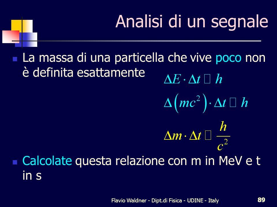 Flavio Waldner - Dipt.di Fisica - UDINE - Italy 89 Analisi di un segnale La massa di una particella che vive poco non è definita esattamente Calcolate questa relazione con m in MeV e t in s