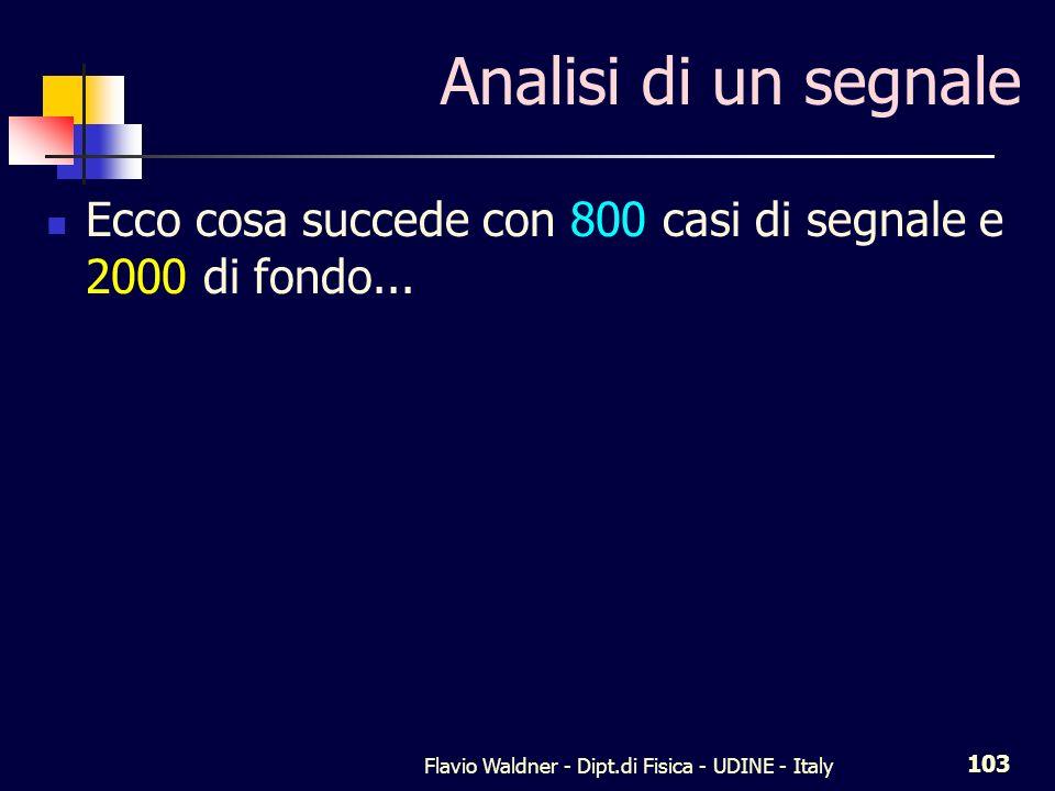 Flavio Waldner - Dipt.di Fisica - UDINE - Italy 103 Analisi di un segnale Ecco cosa succede con 800 casi di segnale e 2000 di fondo...