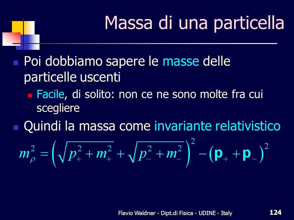 Flavio Waldner - Dipt.di Fisica - UDINE - Italy 124 Massa di una particella Poi dobbiamo sapere le masse delle particelle uscenti Facile, di solito: non ce ne sono molte fra cui scegliere Quindi la massa come invariante relativistico