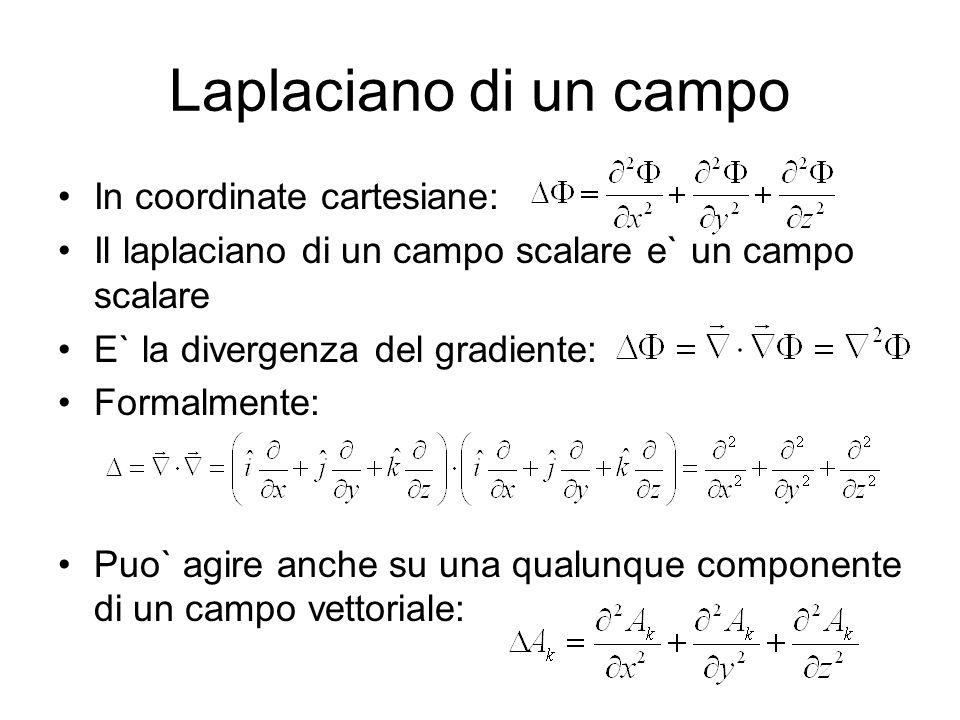 Laplaciano di un campo In coordinate cartesiane: Il laplaciano di un campo scalare e` un campo scalare E` la divergenza del gradiente: Formalmente: Pu