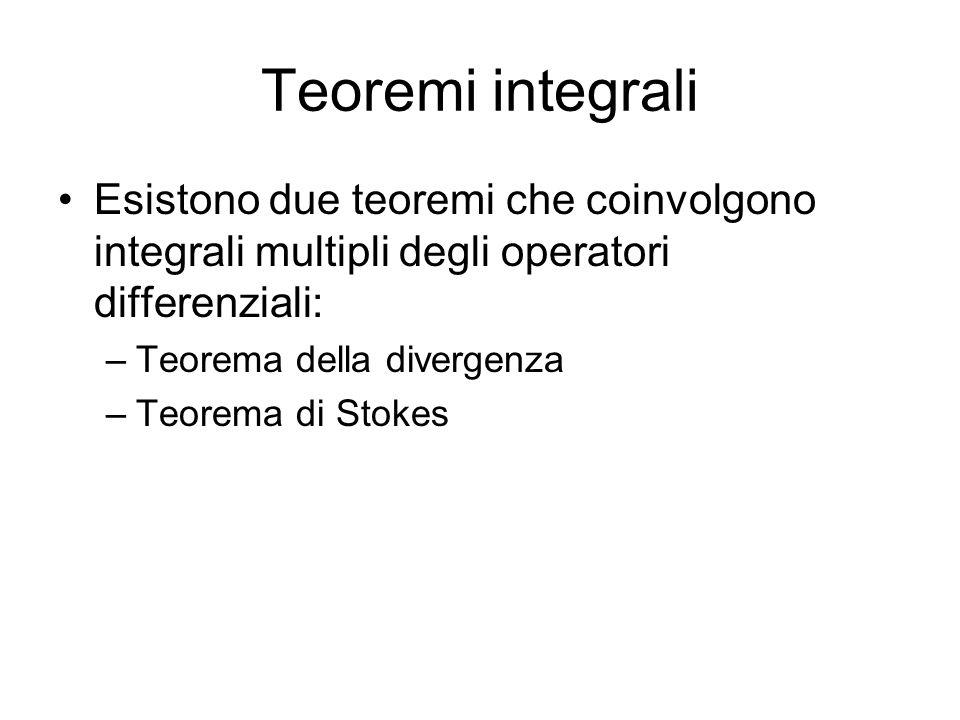 Teoremi integrali Esistono due teoremi che coinvolgono integrali multipli degli operatori differenziali: –Teorema della divergenza –Teorema di Stokes