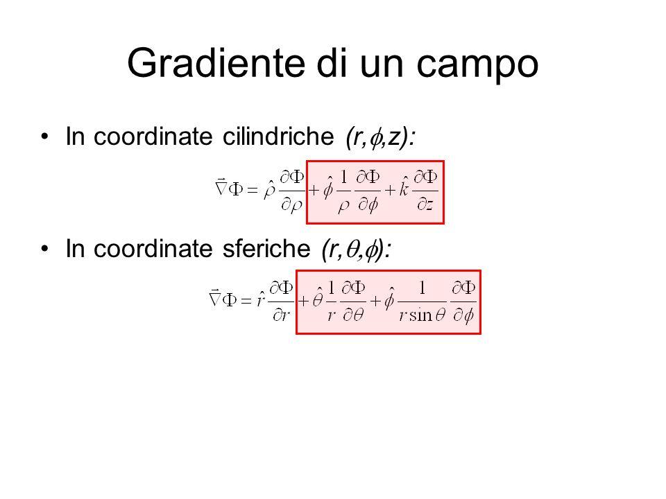 Gradiente di un campo In coordinate cilindriche (r,,z): In coordinate sferiche (r, ):