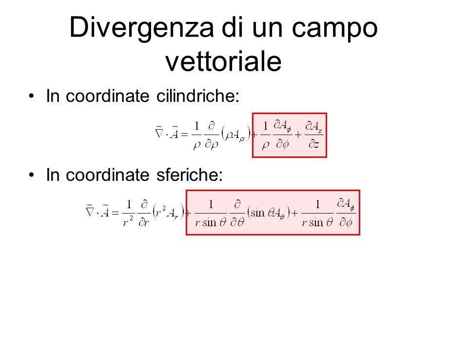 Divergenza di un campo vettoriale In coordinate cilindriche: In coordinate sferiche: