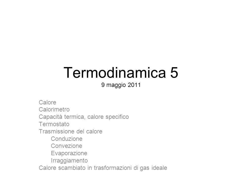 Termodinamica 5 9 maggio 2011 Calore Calorimetro Capacità termica, calore specifico Termostato Trasmissione del calore Conduzione Convezione Evaporazione Irraggiamento Calore scambiato in trasformazioni di gas ideale