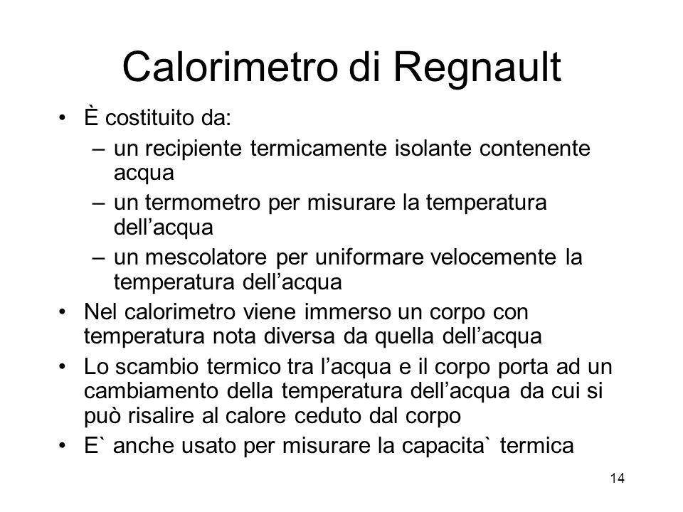 Calorimetro di Regnault È costituito da: –un recipiente termicamente isolante contenente acqua –un termometro per misurare la temperatura dellacqua –un mescolatore per uniformare velocemente la temperatura dellacqua Nel calorimetro viene immerso un corpo con temperatura nota diversa da quella dellacqua Lo scambio termico tra lacqua e il corpo porta ad un cambiamento della temperatura dellacqua da cui si può risalire al calore ceduto dal corpo E` anche usato per misurare la capacita` termica 14