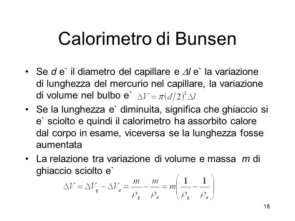 Calorimetro di Bunsen Se d e` il diametro del capillare e l e` la variazione di lunghezza del mercurio nel capillare, la variazione di volume nel bulb