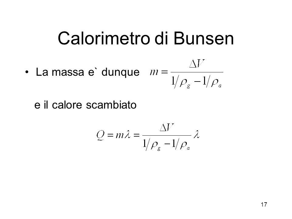 Calorimetro di Bunsen La massa e` dunque e il calore scambiato 17