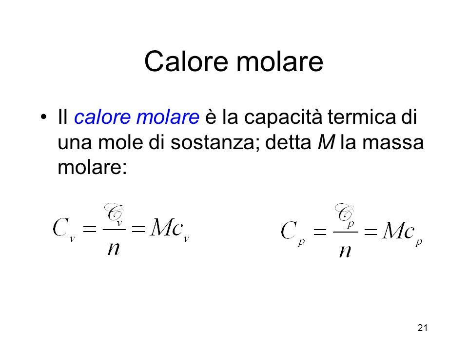 Calore molare Il calore molare è la capacità termica di una mole di sostanza; detta M la massa molare: 21