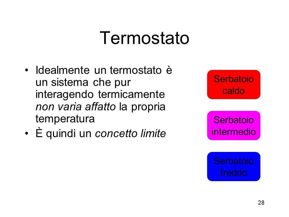 Termostato Idealmente un termostato è un sistema che pur interagendo termicamente non varia affatto la propria temperatura È quindi un concetto limite Serbatoio caldo Serbatoio freddo Serbatoio intermedio 28