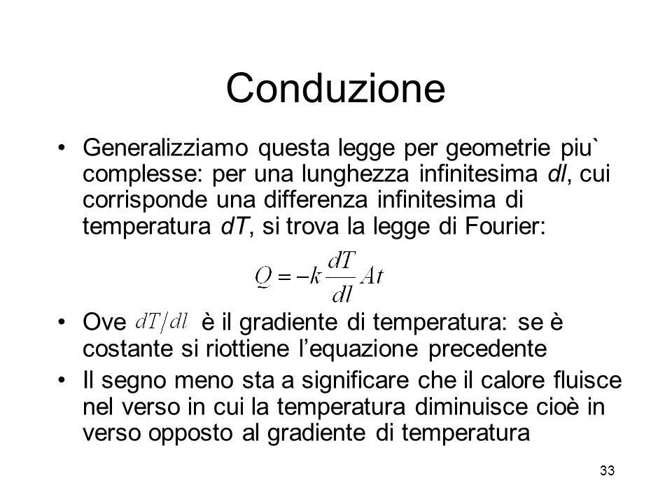 Conduzione Generalizziamo questa legge per geometrie piu` complesse: per una lunghezza infinitesima dl, cui corrisponde una differenza infinitesima di temperatura dT, si trova la legge di Fourier: Ove è il gradiente di temperatura: se è costante si riottiene lequazione precedente Il segno meno sta a significare che il calore fluisce nel verso in cui la temperatura diminuisce cioè in verso opposto al gradiente di temperatura 33