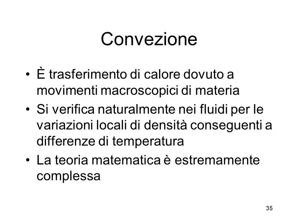 Convezione È trasferimento di calore dovuto a movimenti macroscopici di materia Si verifica naturalmente nei fluidi per le variazioni locali di densità conseguenti a differenze di temperatura La teoria matematica è estremamente complessa 35
