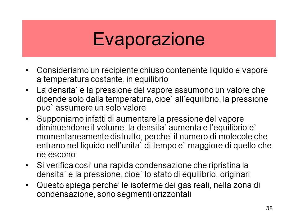 Evaporazione Consideriamo un recipiente chiuso contenente liquido e vapore a temperatura costante, in equilibrio La densita` e la pressione del vapore