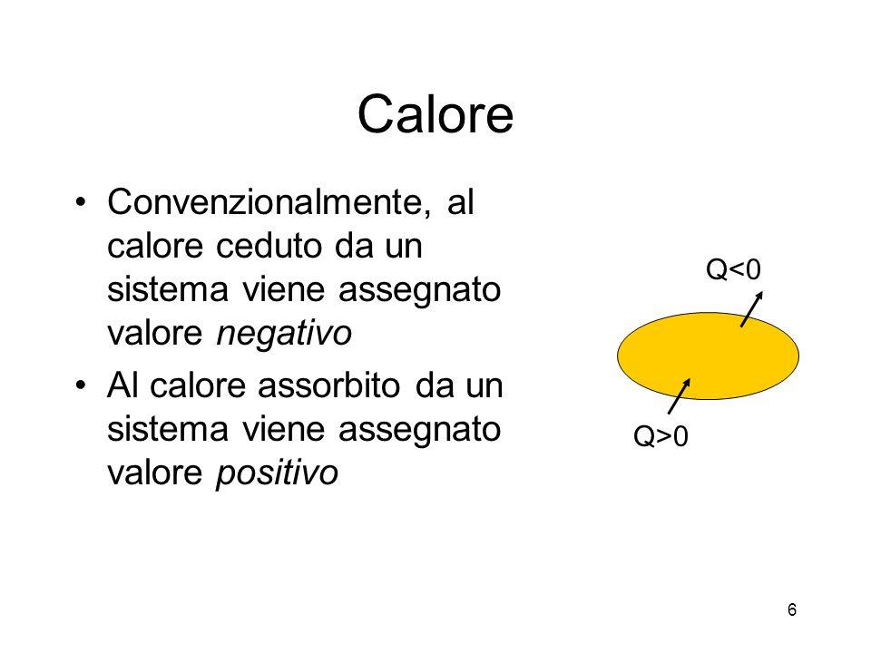 Calore Convenzionalmente, al calore ceduto da un sistema viene assegnato valore negativo Al calore assorbito da un sistema viene assegnato valore posi