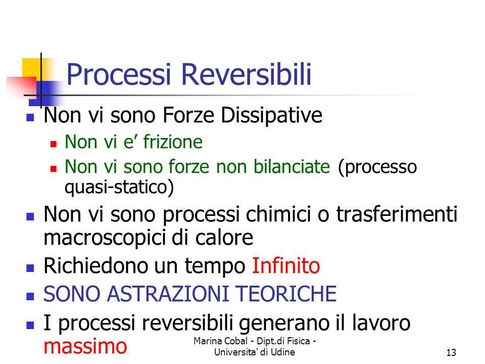 Marina Cobal - Dipt.di Fisica - Universita' di Udine13 Processi Reversibili Non vi sono Forze Dissipative Non vi e frizione Non vi sono forze non bila