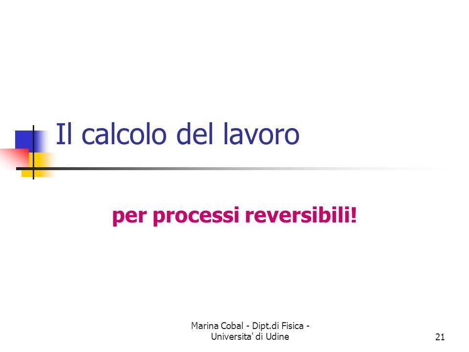 Marina Cobal - Dipt.di Fisica - Universita' di Udine21 Il calcolo del lavoro per processi reversibili!