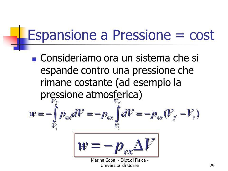 Marina Cobal - Dipt.di Fisica - Universita' di Udine29 Espansione a Pressione = cost Consideriamo ora un sistema che si espande contro una pressione c