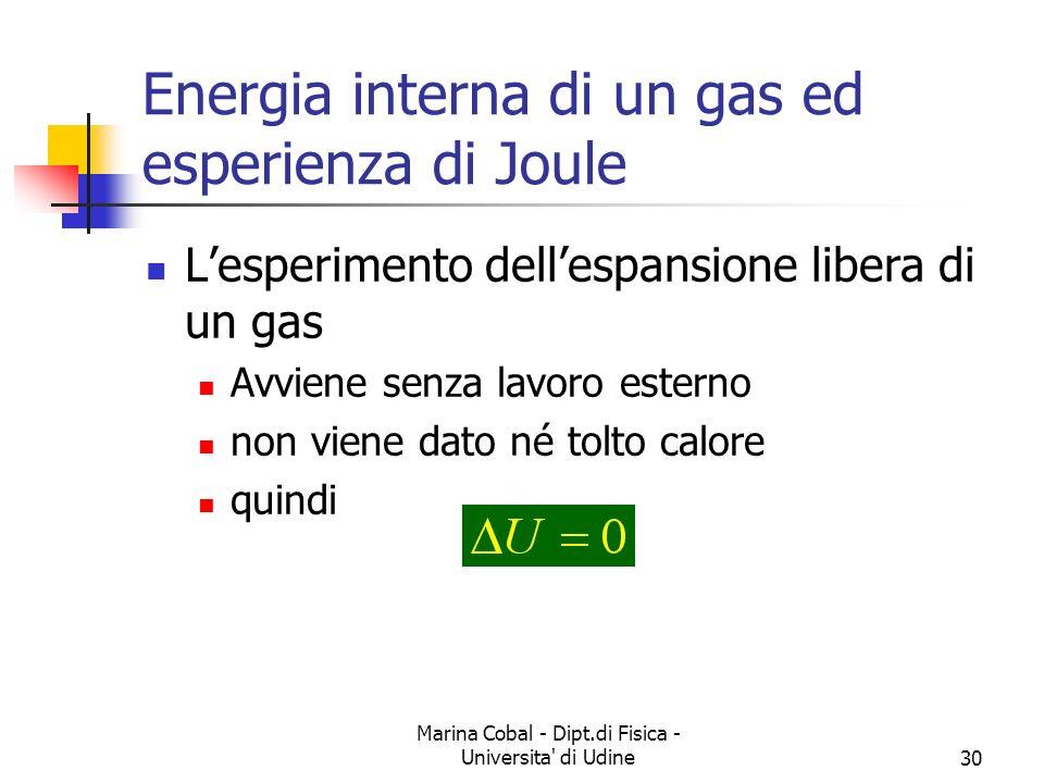 Marina Cobal - Dipt.di Fisica - Universita' di Udine30 Energia interna di un gas ed esperienza di Joule Lesperimento dellespansione libera di un gas A
