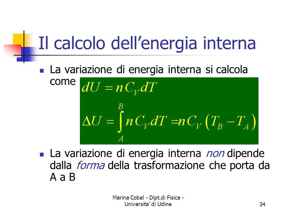 Marina Cobal - Dipt.di Fisica - Universita' di Udine34 Il calcolo dellenergia interna La variazione di energia interna si calcola come La variazione d