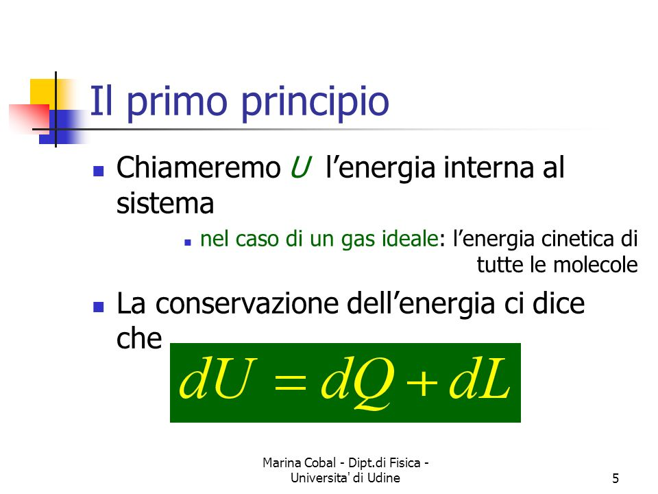 Marina Cobal - Dipt.di Fisica - Universita di Udine6 Energia interna di un gas Supponiamo di avere un gas a volume costante quindi Se l è il numero di gradi di libertà di una molecola In totale
