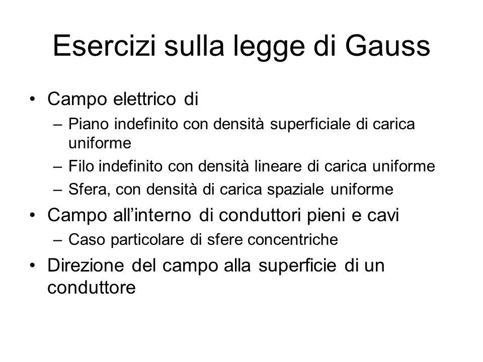 Esercizi sulla legge di Gauss Campo elettrico di –Piano indefinito con densità superficiale di carica uniforme –Filo indefinito con densità lineare di
