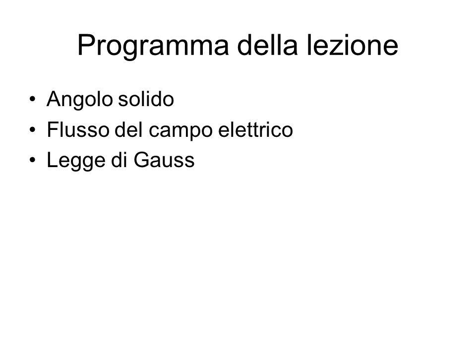 Programma della lezione Angolo solido Flusso del campo elettrico Legge di Gauss