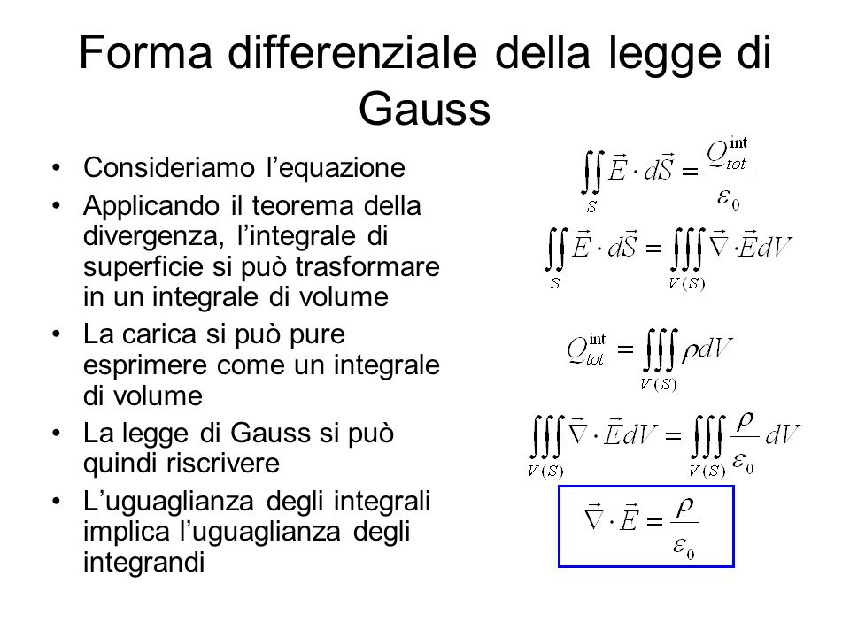 Forma differenziale della legge di Gauss Consideriamo lequazione Applicando il teorema della divergenza, lintegrale di superficie si può trasformare i