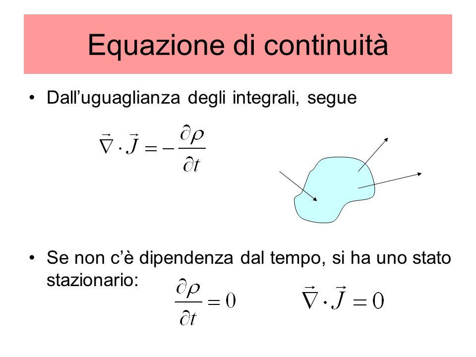Equazione di continuità Dalluguaglianza degli integrali, segue Se non cè dipendenza dal tempo, si ha uno stato stazionario: