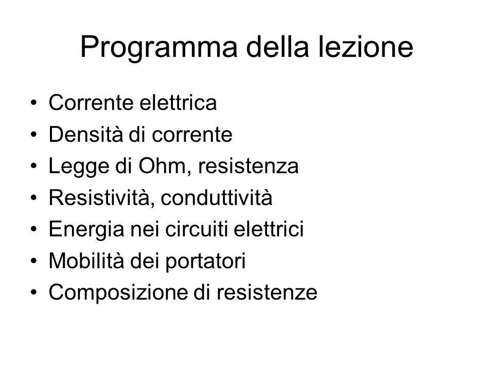 Programma della lezione Corrente elettrica Densità di corrente Legge di Ohm, resistenza Resistività, conduttività Energia nei circuiti elettrici Mobil