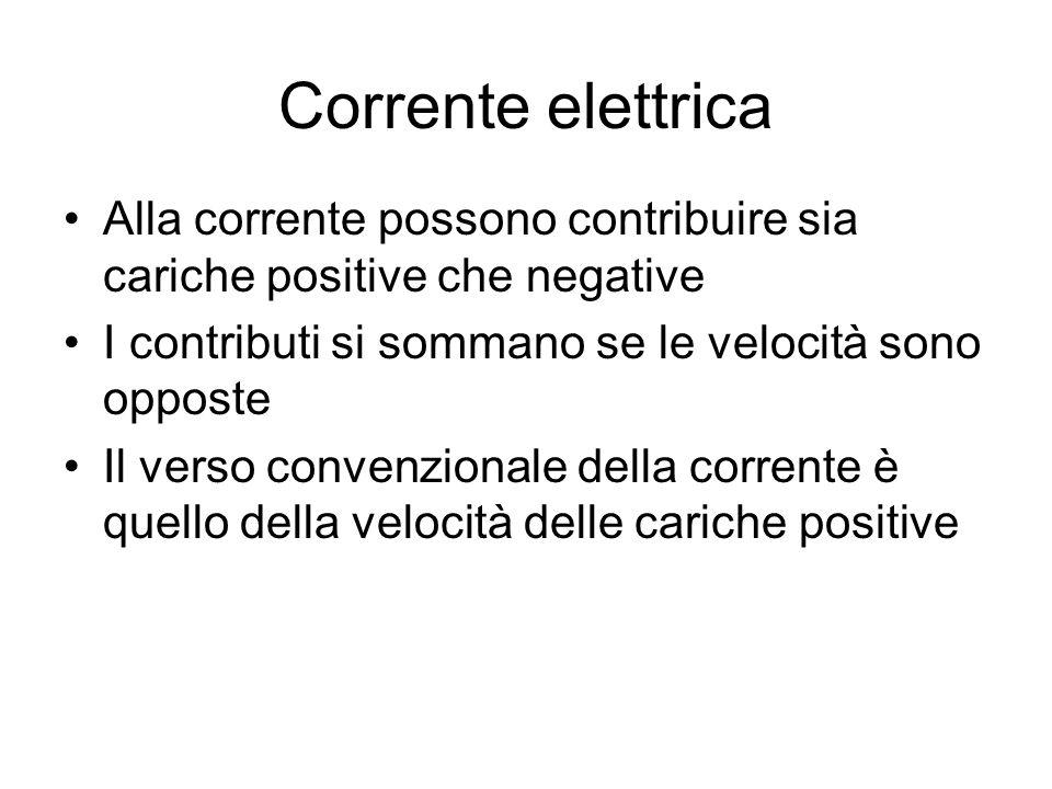 Corrente elettrica Alla corrente possono contribuire sia cariche positive che negative I contributi si sommano se le velocità sono opposte Il verso co