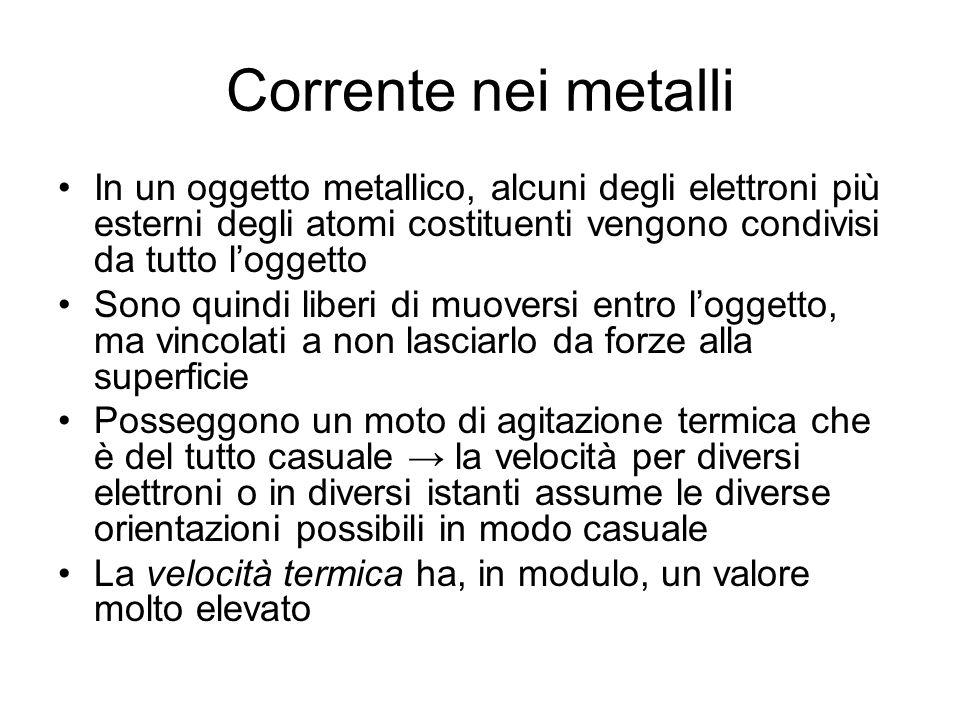 Corrente nei metalli In un oggetto metallico, alcuni degli elettroni più esterni degli atomi costituenti vengono condivisi da tutto loggetto Sono quin
