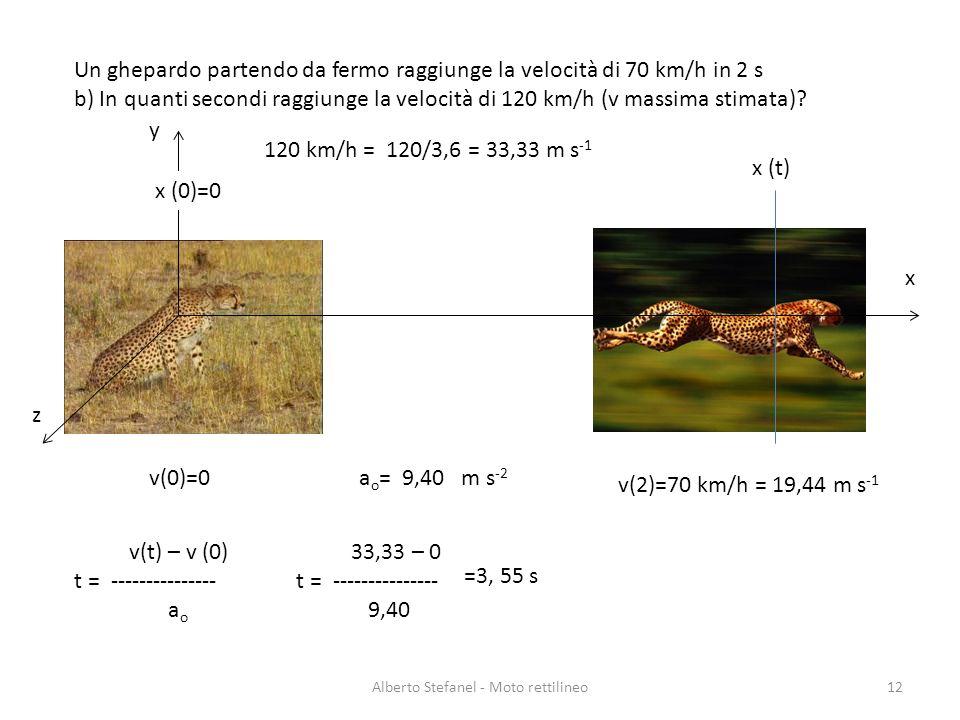 Un ghepardo partendo da fermo raggiunge la velocità di 70 km/h in 2 s b) In quanti secondi raggiunge la velocità di 120 km/h (v massima stimata)? Albe