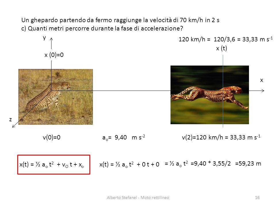 Un ghepardo partendo da fermo raggiunge la velocità di 70 km/h in 2 s c) Quanti metri percorre durante la fase di accelerazione? Alberto Stefanel - Mo