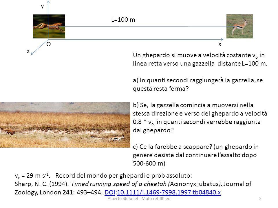Un ghepardo si muove a velocità costante v o in linea retta verso una gazzella distante L=100 m. a) In quanti secondi raggiungerà la gazzella, se ques