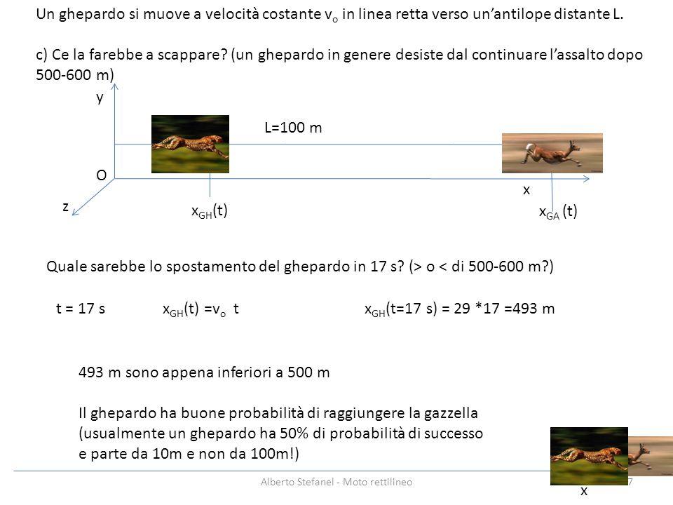 x y z Un ghepardo si muove a velocità costante v o in linea retta verso unantilope distante L. c) Ce la farebbe a scappare? (un ghepardo in genere des