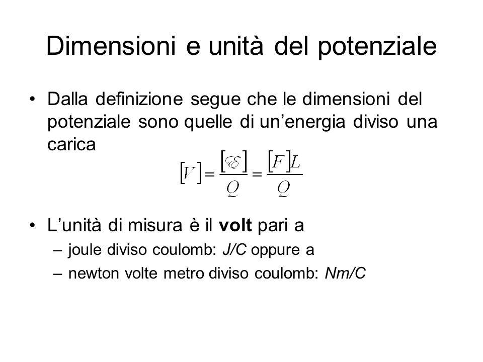 Dimensioni e unità del potenziale Dalla definizione segue che le dimensioni del potenziale sono quelle di unenergia diviso una carica Lunità di misura