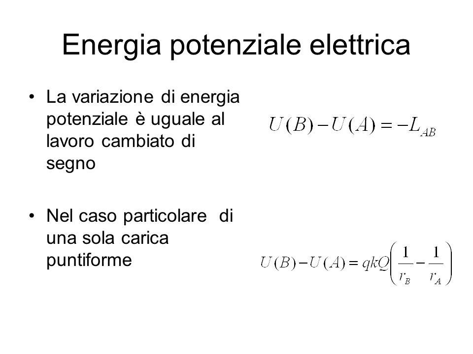 Energia potenziale elettrica La variazione di energia potenziale è uguale al lavoro cambiato di segno Nel caso particolare di una sola carica puntifor