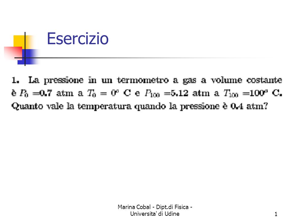 Marina Cobal - Dipt.di Fisica - Universita di Udine1 Esercizio