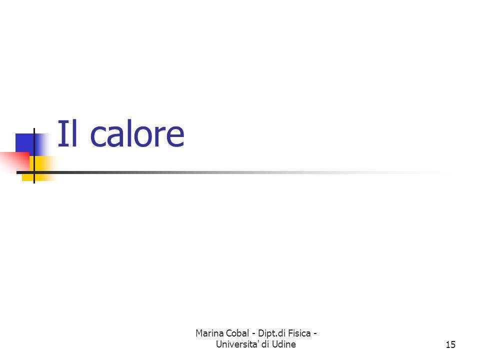 Marina Cobal - Dipt.di Fisica - Universita di Udine15 Il calore