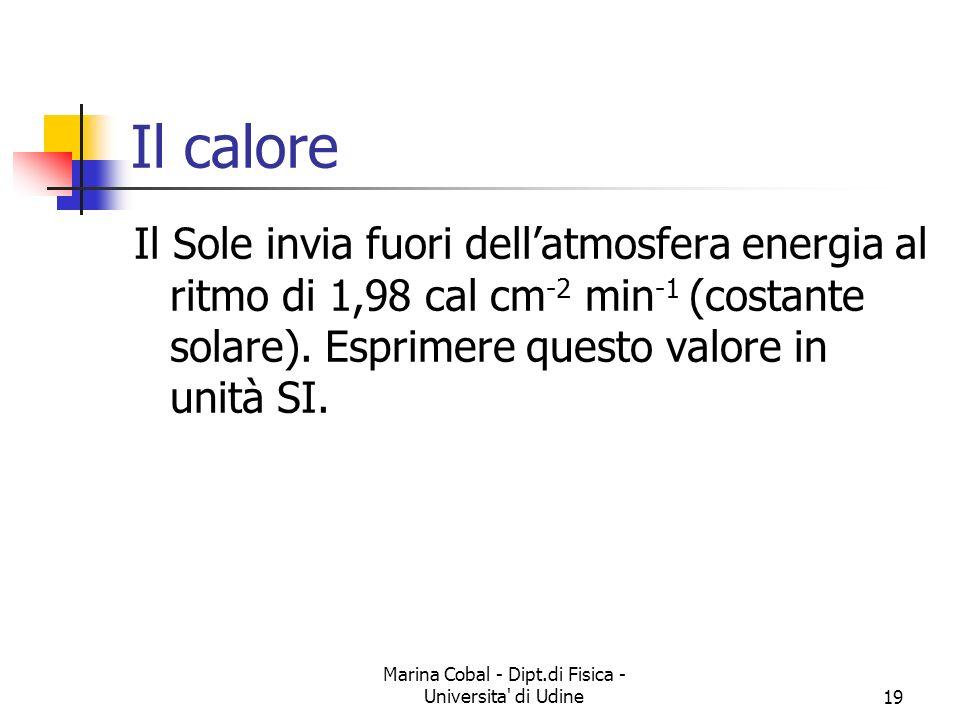 Marina Cobal - Dipt.di Fisica - Universita di Udine19 Il calore Il Sole invia fuori dellatmosfera energia al ritmo di 1,98 cal cm -2 min -1 (costante solare).