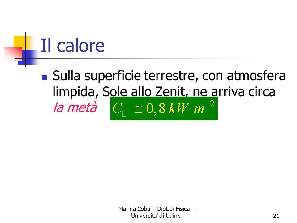 Marina Cobal - Dipt.di Fisica - Universita di Udine21 Il calore Sulla superficie terrestre, con atmosfera limpida, Sole allo Zenit, ne arriva circa la metà