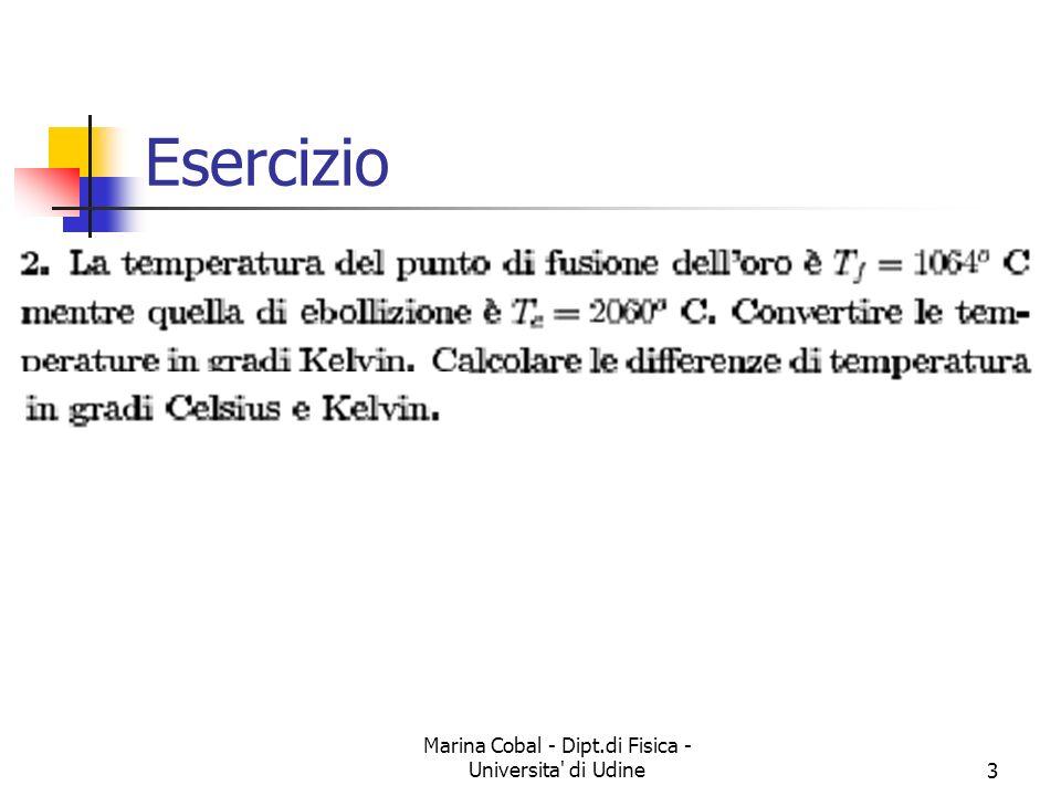 Marina Cobal - Dipt.di Fisica - Universita di Udine3 Esercizio