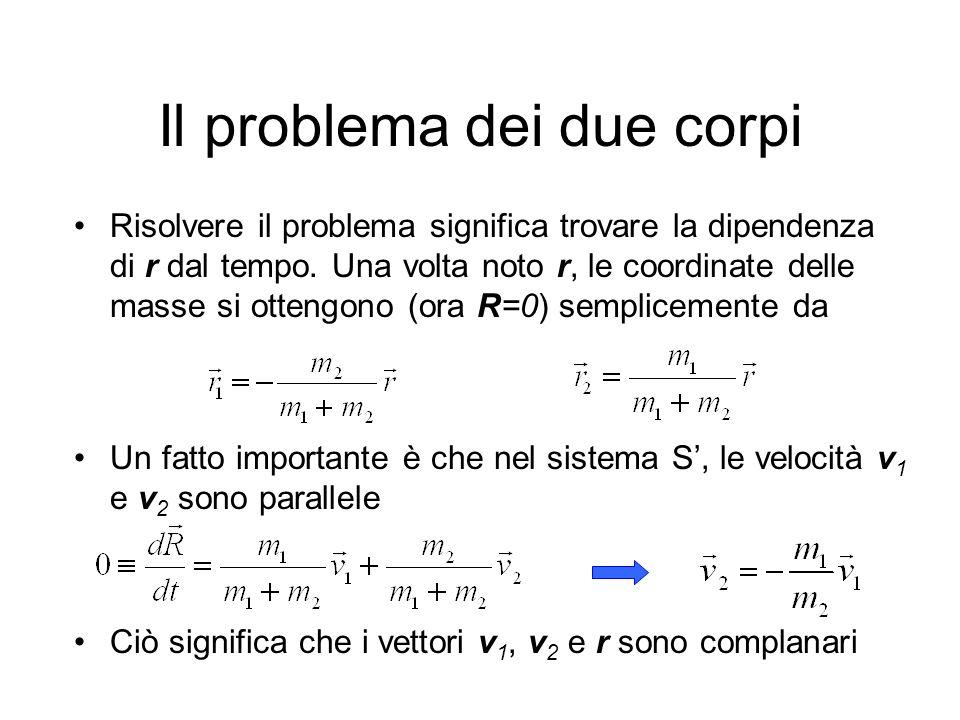 Il problema dei due corpi Risolvere il problema significa trovare la dipendenza di r dal tempo. Una volta noto r, le coordinate delle masse si ottengo